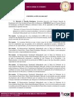 Solicitud de Renuncia a Gobernante Estudiantil UPR