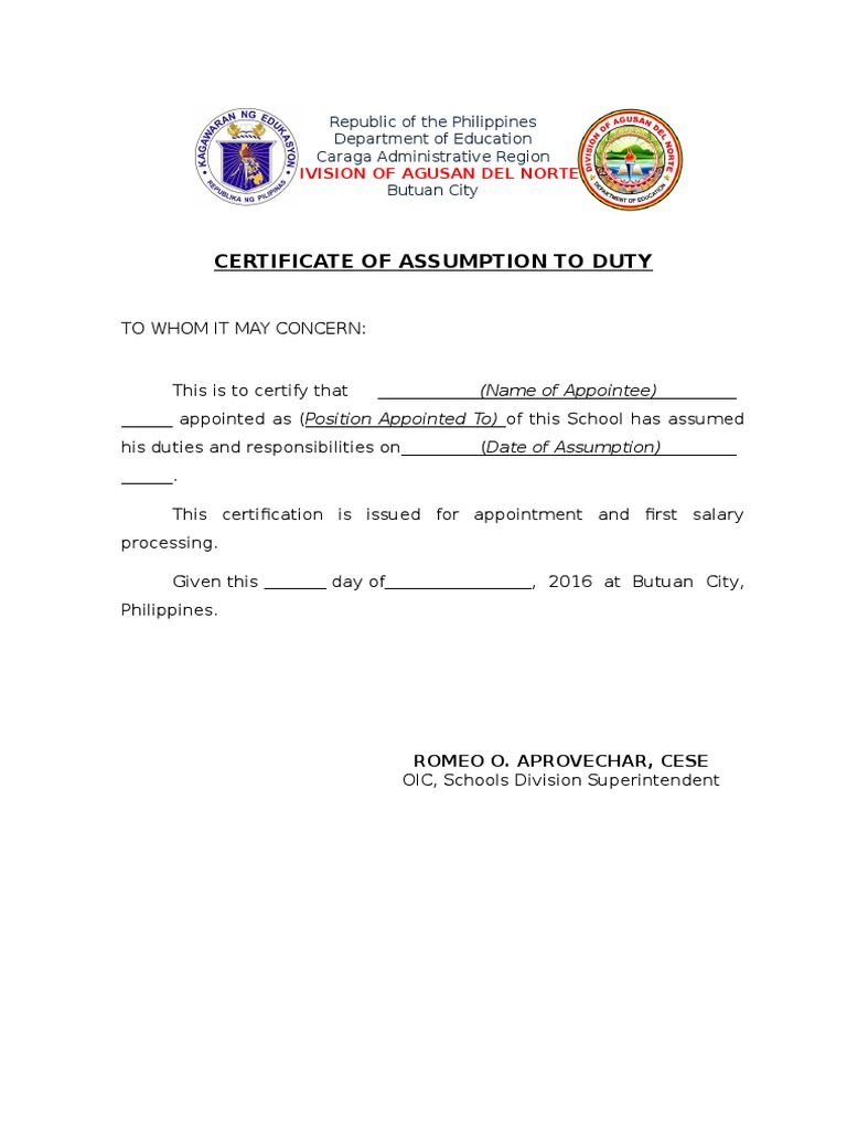 Certificate Of Assumption To Duty