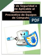 Manual de Normas de seguridad e higiene para llevar a cabo el mantenimiento Preventivo de una PC