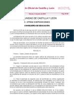R. 24/5, por la que se unifican las actuaciones de los centros docentes no universitarios de Castilla y León correspondientes a la finalización del curso escolar 2009-2010.