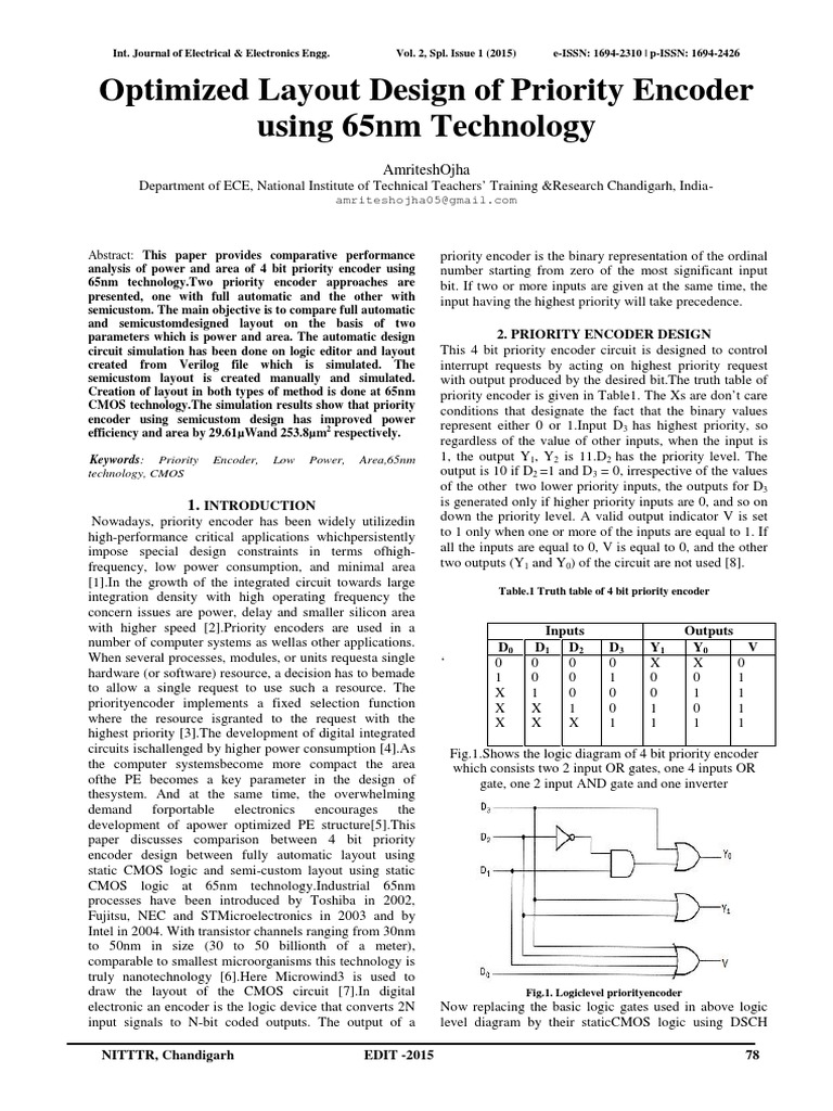 Optimized Layout Design Of Priority Enco Cmos Electronic Logic Diagram Encoder