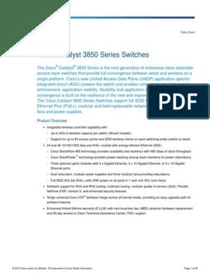 Data Sheet Cisco Catalyst 3850 Series Switches | Network