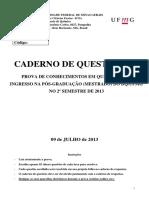 Prova UFMG Doutorado