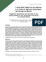 Composición y diversidad vegetal de dos sistemas de pastoreo en el matorral espinoso tamaulipeco del Noreste de México