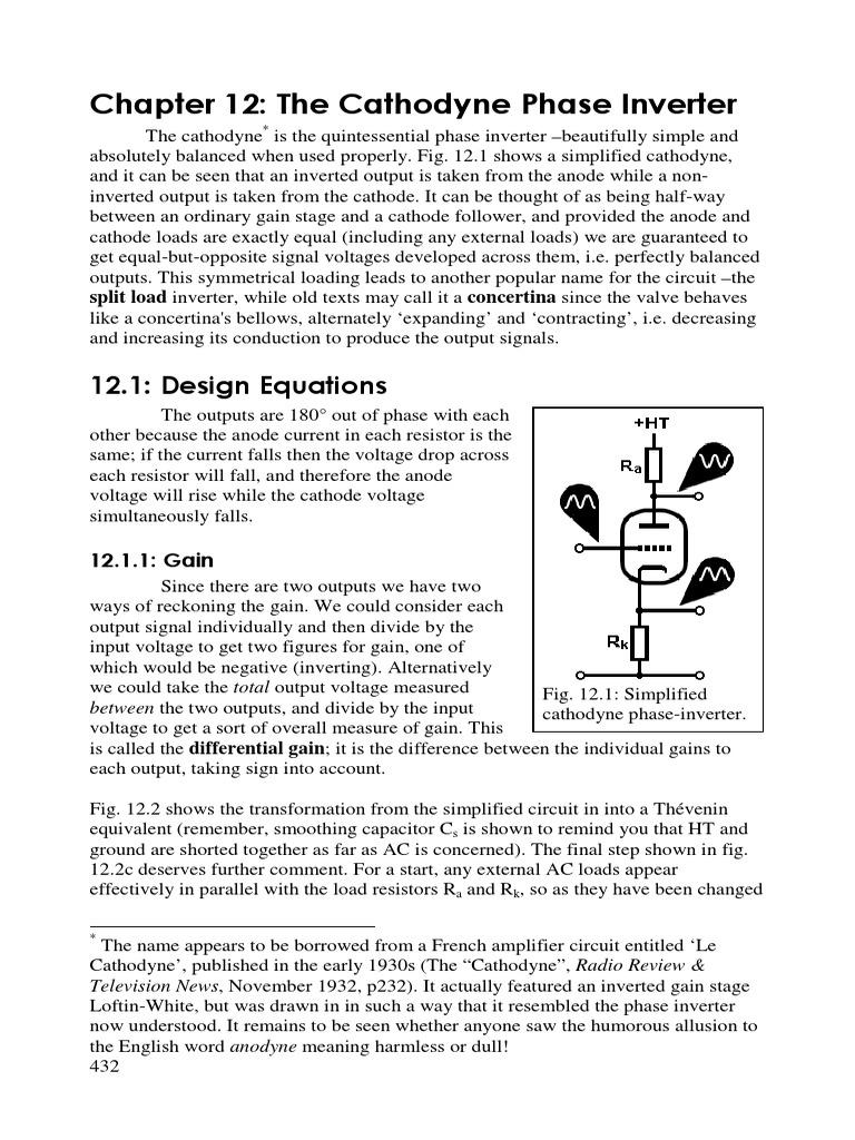 Cathodyne Vacuum Tube Amplifier Voltage In Each Resistor Remains The Same Across