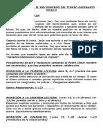 Moniciones Para El Xxv Domingo Del Tiempo Ordinario Ciclo c