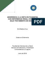 Adherencia a a Dieta en Pacientes Con ERC y Bajo Tratamiento de Dialisis (TFG)