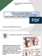 7 Ma Clase-dibujo Arquitectonico IV-tecnica a Sepia y Aguada Anteproyecto Arquitectonico-2015-II