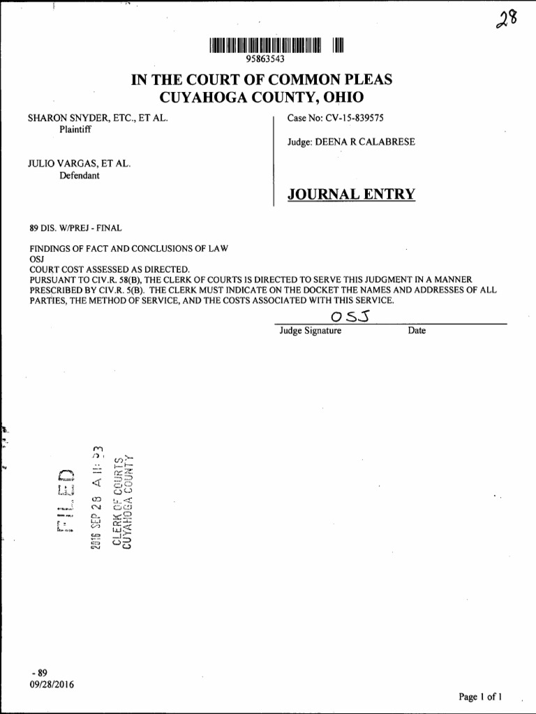 Document entry from Judge Deena Calabrese | Duty Of Care | Negligence