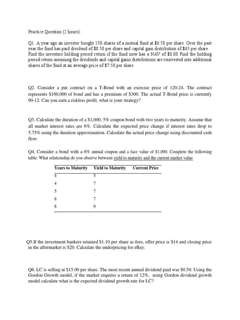 Practice Question Yield Finance Bonds Finance