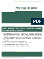Language and Style in English