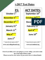 2016-2017 sat act dates