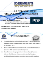 Role of Disciplne in Organisation Mgt