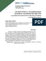 Gonzalo Picón Febres y Las Publicaciones Venezolanas Del Siglo XIX. Diego Rojas Ajmad