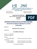 METHODES DE RESOLUTION DES SYSTEMES LINEAIRES et APPLICATION