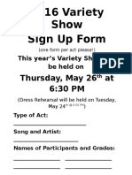 Variety Show Sign Up Form