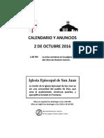 october 2 2016 announcements-prayers-calendar spanish