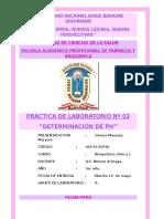 Prac 2 BQ1 PRÁCTICA DE LABORATORIO Nº 02 ''DETERMINACIÓN DE PH''