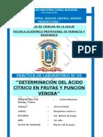 Prac 5 BQ1 PRÁCTICA DE LABORATORIO Nº 05 ''DETERMINACIÓN DEL ÁCIDO CÍTRICO EN FRUTAS Y PUNCIÓN VENOSA''