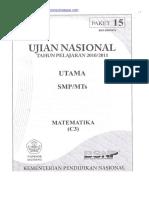 Naskah Soal UN Matematika SMP 2011 (Paket 15)