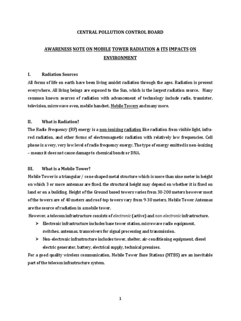 Note Mobile Tower Radiation UPCD Div | Electromagnetic