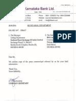 Karnataka Bank signs distribution agreement with M/s Birla Sun Life Asset Management Company [Company Update]