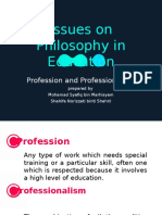 Issues on Philosophy of Education