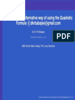 Alternative Quadratic Formula