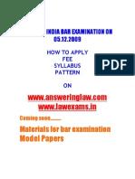 All India Bar Examination Syllabus Pattern Materials Model Papers