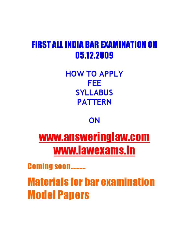 All india bar examination syllabus pattern materials model papers all india bar examination syllabus pattern materials model papers advocate test assessment yadclub Gallery
