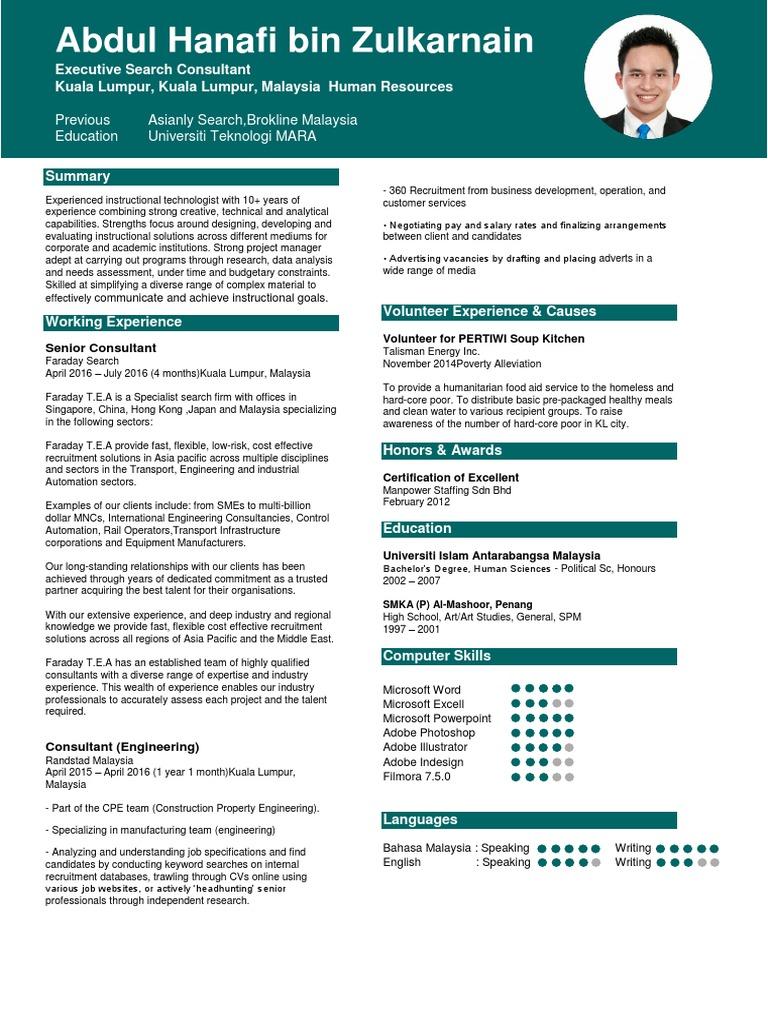 Resume terkini 2016 2017 consultant recruitment yelopaper Choice Image