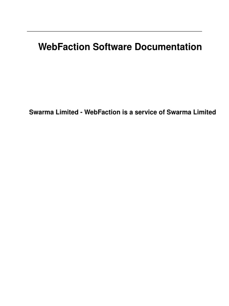 Web Faction Software Documentation | Websites | Web Application