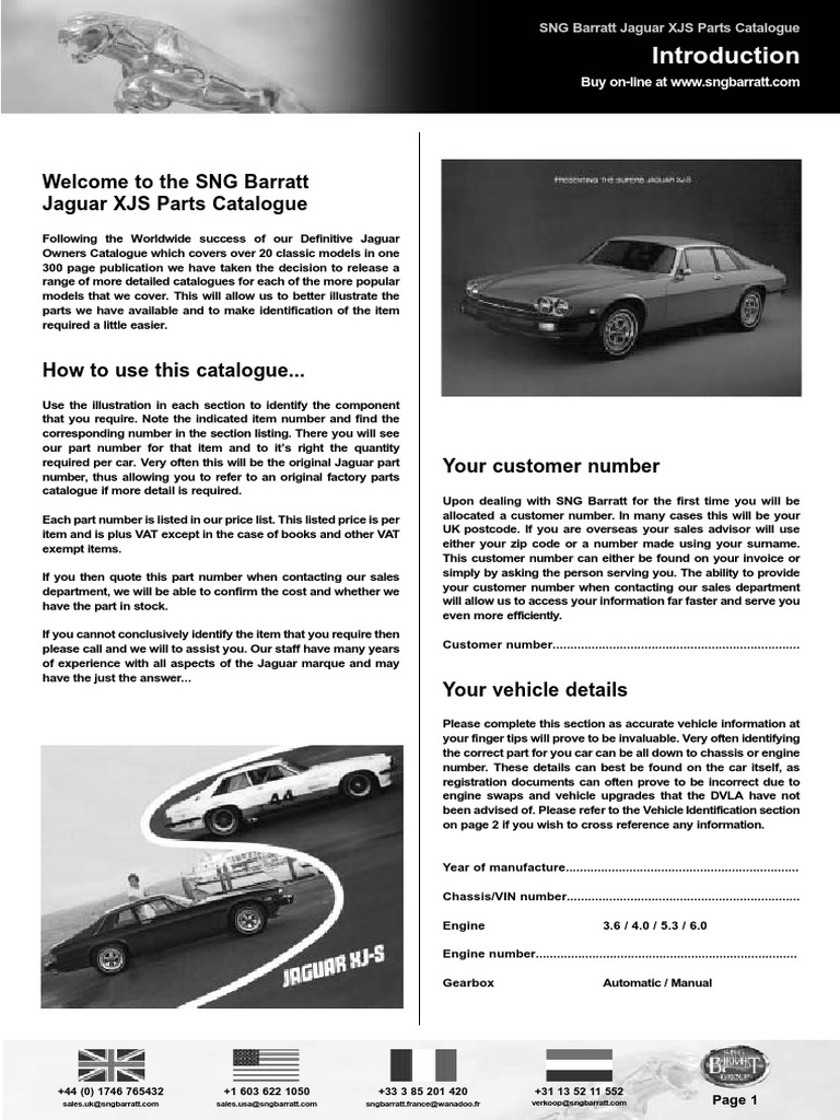 Jaguar XJ-S Range Spare Parts Catalogue book paper