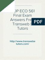 UOP ECO 561 Final Exam Answers Free| Transweb E Tutors