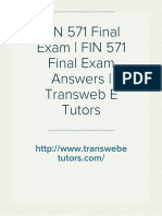 FIN 571 Final Exam | FIN 571 Final Exam Answers | Transweb E Tutors