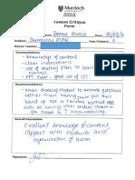evidence 1 - lesson critique form