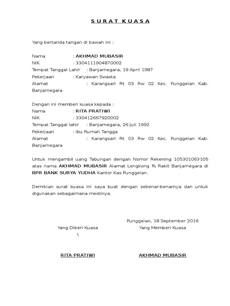 Contoh Surat Kuasa Pengambilan Uang Di Bri - Kumpulan ...