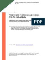Ana Cecilia Murillo Avellaneda, Malor (..) (2013). Propuesta Pedagogica Desde El Ambito Inclusivo