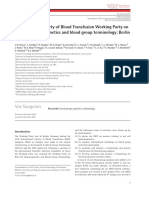 Vox Sanguinis Blood Group Terminology Report 2011 Berlin