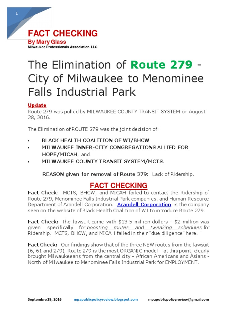 fact checking - the elimination of route 279 | milwaukee | employment