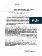 Automatic Absolute Determination of Total Sulfur by Combustion and Coulometric Titration