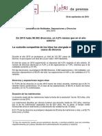 Estadística de Nulidades, Separaciones y Divorcios. Año 2015.