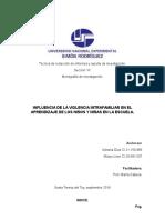 Monografia de Influencia de La Violencia Intrafamiliar