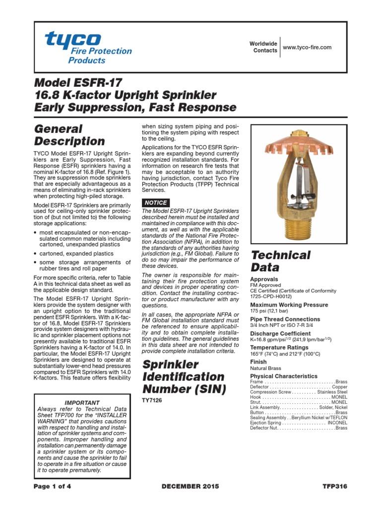 Sprinkler ESFR | Fire Sprinkler System | Pipe (Fluid Conveyance)