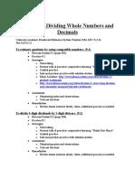 Daily Lesson Plans for Division Unit