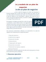 Estructura de Plan de Negocios 2016