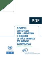 CEPAL 2005 . Elementos Conceptuales Para La Prevenci n y Reducci n de Da Os Originados Por Amenazas Socionaturales