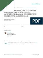 PENGOLAHAN LIMBAH CAIR PUPUK KADAR AMONIAK TINGGI DENGAN PROSES GABUNGAN MICROALGAE DAN NITRIFIKASI-DENITRIFIKASI AUTOTROFIK.pdf