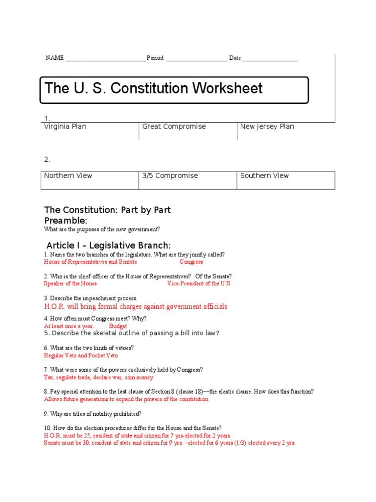 Constitution Worksheet Key | United States Constitution | United ...