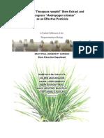 """Pañgiauan """"Tinospora rumphii"""" Stem Extract and Lemongrass """"Andropogon citratus""""  as an Effective Pesticide"""